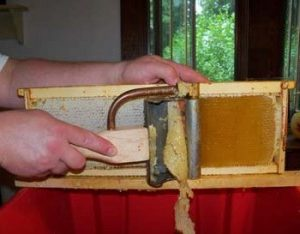 uncapping honey frame